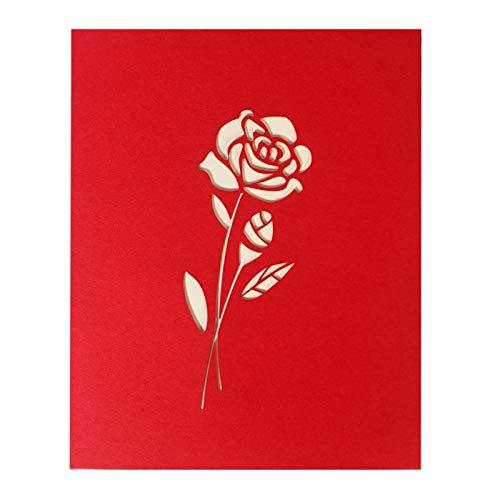 (Vazan - 3D-Pop-Up-Feiertags-Gruß-Karten Rote Blumen-Danksagungs-Kreative Weihnachtsgeschenke [weiß])