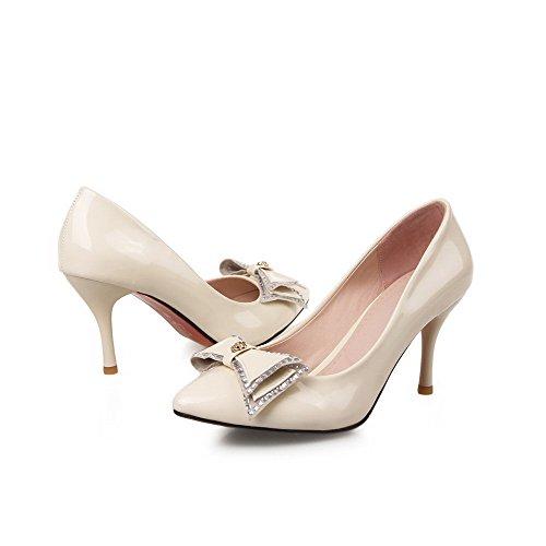 VogueZone009 Femme Pointu Tire Verni Couleur Unie Stylet Chaussures Légeres Beige