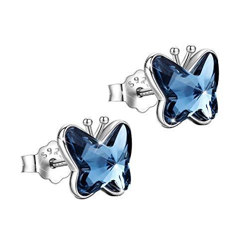 Schmetterlings Ohrringe Sterlingsilber Ohrringe hypoallergen Schmuck für Frauen und Mädchen Geschenk für Sie mit Geschenk Box (Ohrringe-1)