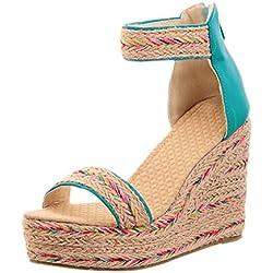 LuckyGirls Chic Sandalias Mujer Plataforma Cuña Verano 2020 Zapatos Mujer Tacon Altas Elegantes Alpargatas Sandalias de Mujer Fiesta Vestir Punta Abierta Correa del Lazo