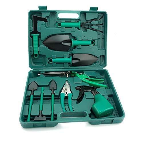 BRZSACR Gartenwerkzeug-Set, 10-in-1, Blumengartenwerkzeug, ergonomischer Griff, Kelle Skorpion-Mäher, Rasenmäher, Schere Sprayer, Gartenhandwerkzeug mit Koffer, Lady Gardening Geschenk grün -