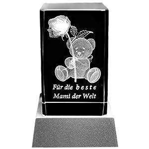 Kaltner Präsente Stimmungslicht - Das perfekte Geschenk: LED Kerze / Kristall Glasblock / 3D-Laser-Gravur Teddy Rose BESTE MAMI