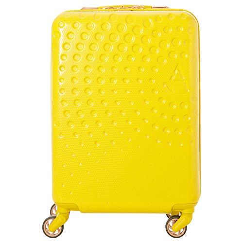 Aerolite Leichtgewicht ABS Hartschale 4 Rollen Handgepäck Trolley Koffer Reisekoffer Gepäck mit eingebautem USB-Anschluss, Genehmigt für Ryanair, easyJet, Lufthansa, und viele mehr, Senfgelb