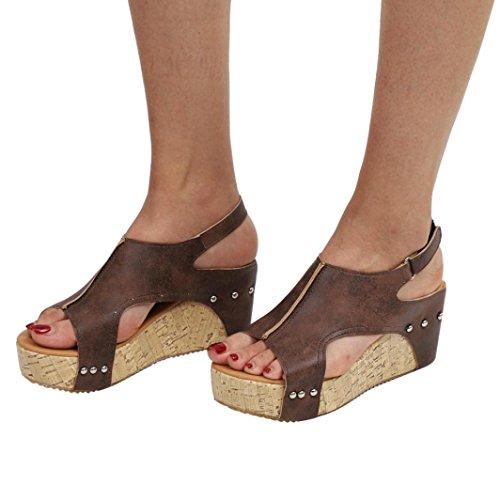 LUCKYCAT Sandales d'été Femme, Prime Day Amazon Chaussures de Été Sandales à Talons Chaussures Plates Pente Rivets Bouche de Poisson Bohême Talons Hauts 2018 (35EU/36CN, Marron)