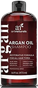 Art Naturals Shampooing à Usage Quotidien à l'Argan 473ml - Sans Sulfates - Idéal dans le Traitement pour Cheveux Abîmés et Secs - Fabriqué à partir d'Ingrédients Bio et Kératine - Pour tous types de cheveux - Utilisable sur cheveux colorés