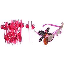 MagiDeal Gafas de Sol Forma de Flamingo + 25pcs Tiki Pajitas de Plástico Flamingo Luau Hawaiano Partido Fiesta Playa Bar
