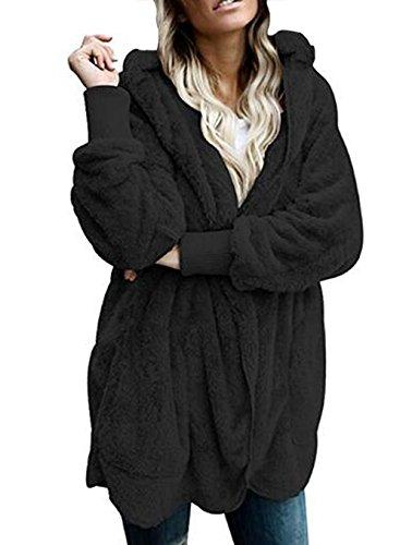 Shallgood Damen Teddy-Overcharge Mantel Kapuzenjacke Baggy Parka Trench Coat Wärme Outwear Schwarz DE 34