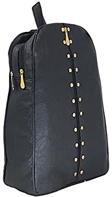 TYPIFY Studded Casual Purse Fashion School Leather Backpack Shoulder Bag Mini Backpack for Women & Girls (Black)
