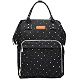 LQZ Large Capacity Multi-Function Diaper Bag Waterproof Travel Backpack Nappy Tote Bags For Baby Care (Dot Black)