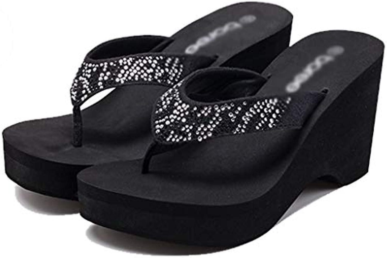 Pantofole AMINSHAP sandali sandali sandali con tacco alto da donna Sandali da spiaggia con suola spessa e ciabatte (Coloreee   NERO... | all'ingrosso  55ee38