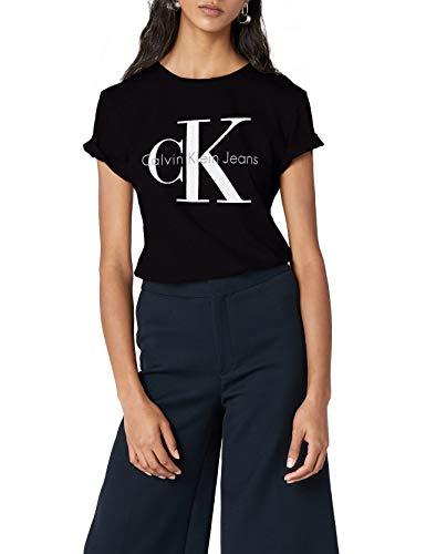 Calvin Klein Jeans Damen SHRUNKEN TEE TRUE ICON T-Shirt, Schwarz (Meteorite 965), X-Small