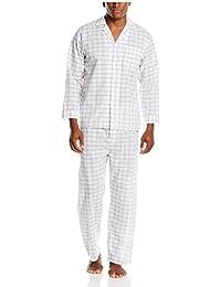 Geoffrey Beene Men's Black Plaid Fancy Long Sleeve Pajama Set, Black/Grey Plaid, Small