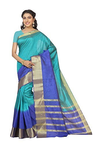 Rani Saahiba Zari Woven Border Shaded Art Silk Saree(SKR1496_Turquoise)  available at amazon for Rs.799