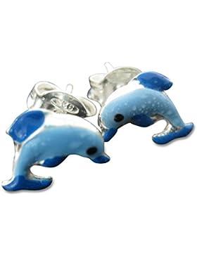 Kinderohrringe Delphin Ohrstecker In 925 Silber Delfin Ohrringe Blau