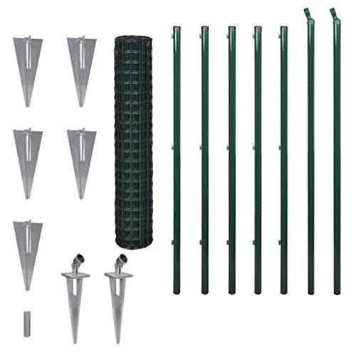 Festnight Ensemble de clôture Grillage de Pelousea Vert Grillage Cloture Jardin en Acier avec Accessoires 1.7m x 10 m