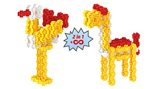 Fanclastic 100619 Vogel & Lama Set 2-in-1 Konstruktionsspielzeug, 30-teilig, Gelb/Rot/Weiß