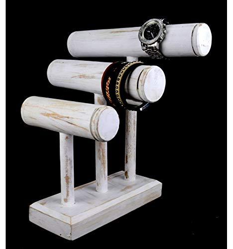 Etagere Armbänder und Uhren 3Armbandhalter weiß gekalktes Holz -