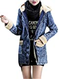 Ansenesna Damen Jeansjacke Mit Fellkapuze Lang Wolle Warm Gefüttert Elegant Mantel Mädchen Vintage Denim Winterjacke Mit Kapuze (L, Blau)