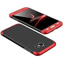 Galaxy S6 Edge Funda,2ndSpring Funda Samsung Galaxy S6 Edge 360 Grados Integral Para Ambas Caras + Cristal Templado, Luxury 3 in 1 PC Hard Skin Carcasa Case Cover para Samsung Galaxy S6 Edge Rojo Negro