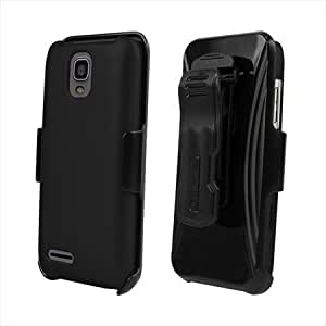 Beyond Cell Rubberized Phone Case Holster Kombo with Screen Protector for ZTE Engage LT N8000 - Non-Retail Packaging - Black