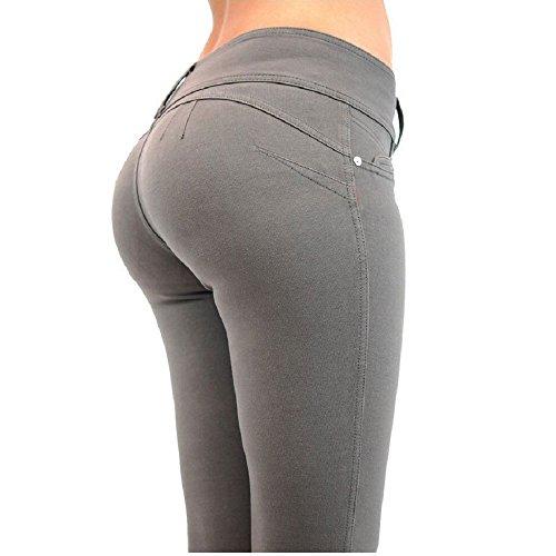 YHNEW Donne Pantaloni Vita Bassa Spinge Verso L'alto Legging Elastico Bodybuilding Skinny Grigio M
