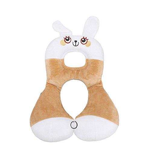 Inchant Cartoon-Tierform-Baby-Kind-Auto-Sitzkissen Kopfstütze Kleinkinder Soft-Kopf-Hals-Unterstützung für Reise- und Kinderwagen - Kaninchen