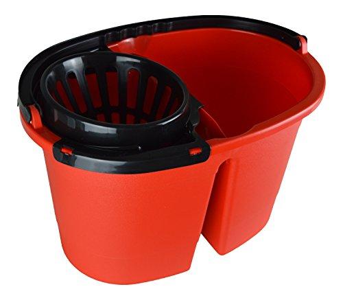 Secchio a doppia vasca cleandouble xl con strizzatore, secchio xl da 16 litri con rotelle, strizzatore per acqua fresca e pulita, strizzare senza incurvarsi. senza bpa, prodotto in ue.