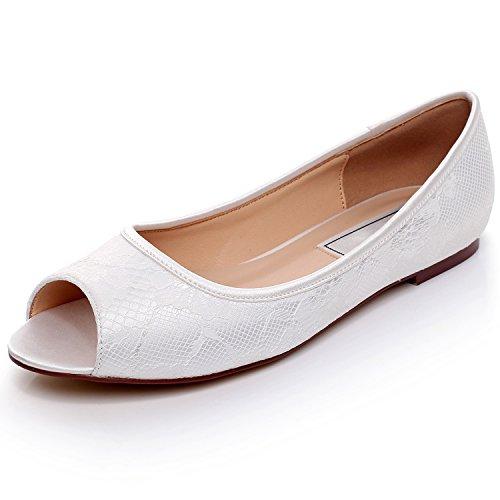 YOOZIRI Schuhe mit flachem Absatz Ivory Wedding Flats,Peep Toe Bridal Shoes,RS-9803-Ivory-Peep-Toe-EU36