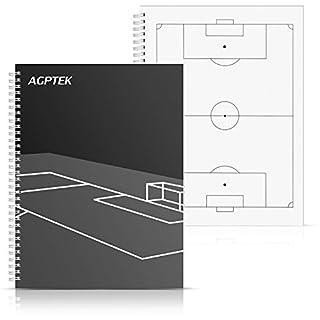 AGPTEK Cahier du Football Aide d'Entraînement Carnet Entraîneur Football, Noir+Blanc