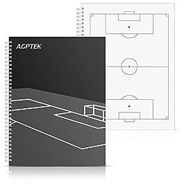 AGPTEK Notebook per Allenatore di Calcio (A4, 100 Pagine), Coaching Diaries di Calcio contiene 3 Modelli Tattici Design e Modelli Record Score Gioco, Bianco e Nero