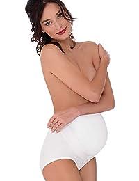 Mamma Mia P0226 Faja premamá de algodón elástico fabricado en Italia Faja de embarazo reductora con cinta de sujeción y soporte de Lady Bella Lingerie