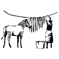 "Kult Kanvas 60 x 89 cm Large""Banksy Zebra Wash Day"" Decal Vinyl Wall Sticker, Light Blue_Parent"