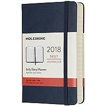 Agenda diaria 2018, 12 meses, de bolsillo, tapa dura (color azul zafiro)