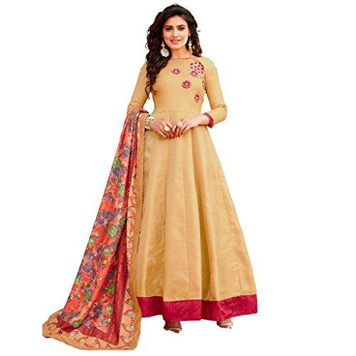 Ethnic Empire Women's Banglori Satin Semi Stitch Salwar Suit (Ethnic_ER11070_Beige_Free Size)
