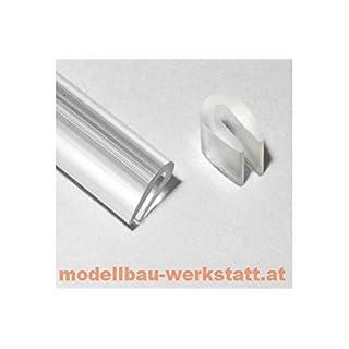 Modellbau-Werkstatt 1m Kantenschutz transparent 3,5x5,0mm für Lexan Karosserie / Kabinenhaube / Bleche uvm. - Kederband PVC weich U-Profil Keder