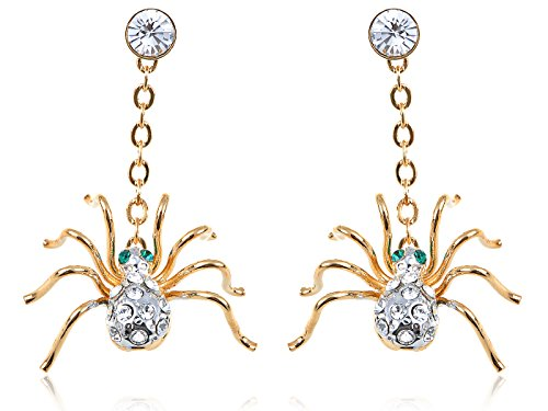 Alilang Frauen Petite Golden Swarovski Elements Strass Spinne Ohrringe Ohrhänger (Billige Teens Halloween-kostüme)