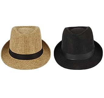 faas Fedora Hat Black & Beige for Men & Women Combo (Black, Beige, Pack of 2)