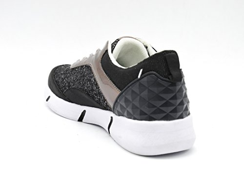 SHY19b * Baskets Running Sneakers Paillettes et Hologramme avec Semelle Blanche - Mode Femme Noir