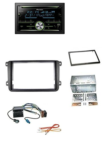 Pioneer FH-X730BT MP3 2DIN Bluetooth AUX CD USB Autoradio für VW Caddy Golf 5 6 Jetta ab 2003 (Doppel-passe Hinten)