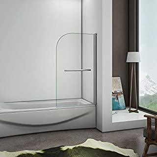 Aica Bathrooms 800x1400mm 180 Degree Pivot Glass Shower Door Bath Screen Panel with Towel Rail, Metal, Chrome