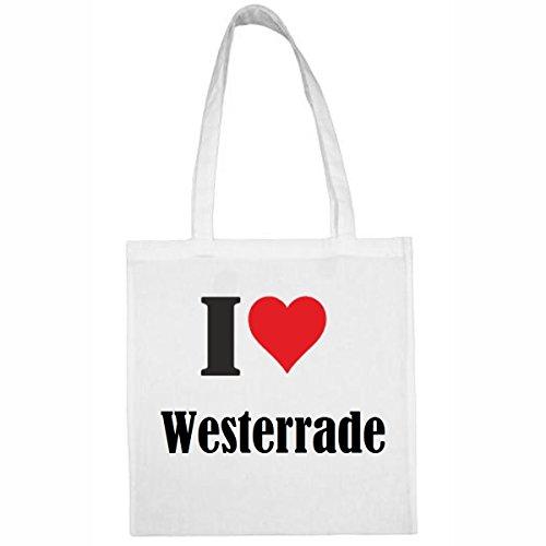 Tasche I Love Westerrade Größe 38x42 Farbe Weiss Druck Schwarz