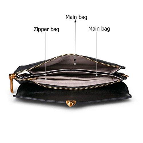 Damen-lederner Mappen-langer Abschnitt-Art- Und Weisegeschäfts-Mappen-Handtaschen-Schulter-Beutel Blue