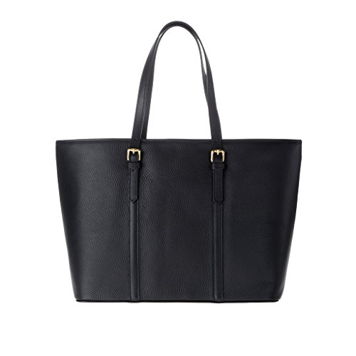 Borsa donna shopping bag Made in Italy in vera pelle dollaro a spalla con manici DUDU Nero