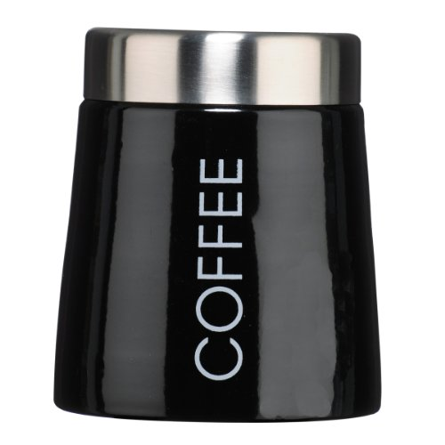 Premier Housewares Konische Kaffeedose, Emaille, schwarz