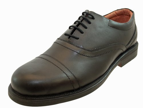Mens Black Leather Toe Cap Lace Up Formal Work Wide Fit Shoes UK Sizes 9