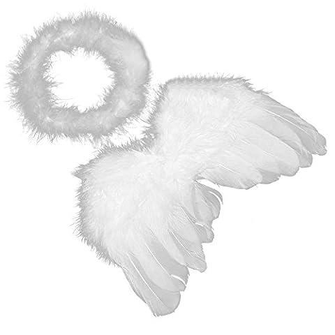 Vococal® 0-6 Monate Baby Feder Engelsflügel Fotografie Props / Cupid Flaum Heiligenschein Kostüm Requisiten für Baby Karneval (Baby-0-6 Monate Kostüme)