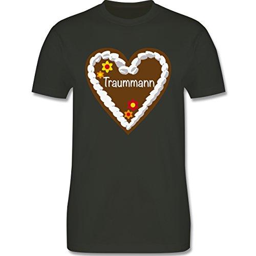 Oktoberfest Herren - Lebkuchenherz Traummann - Herren Premium T-Shirt Army  Grün