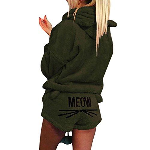 (Juleya Winter Frauen Zweiteiler Pyjamas Warme Koralle SAMT Anzug Nachtwäsche Nette Katze Muster Hoodies + Shorts Outfit Armee Grün L)