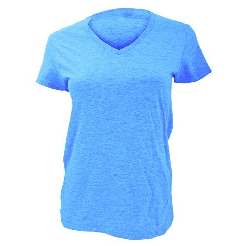 Anvil - T-shirt 100% coton à col en V - Femme Bleu Caraïbes