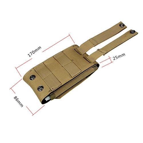 xhorizon(TM)MW8 1000D Handy BeutelAußen MOLLE Armee Camo CamouflageTaschenhakenSchleife Gürteltasche Holster Hülle für Multi Handy Modell #A3 Khaki